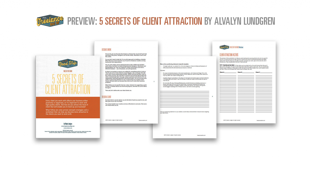 5 Secrets of Client Attraction by Alvalyn Lundgren preview pages